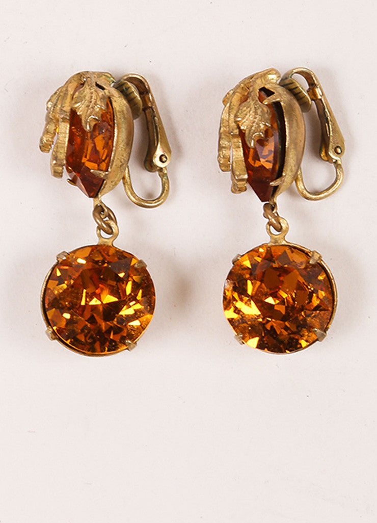 Miriam Haskell Orange and Gold Toned Leaf Rhinestone Dangle Earrings Frontview