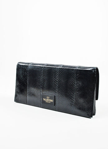 Black Valentino Snake Embossed Ponyhair Mime Cavallino Vitello Clutch Side