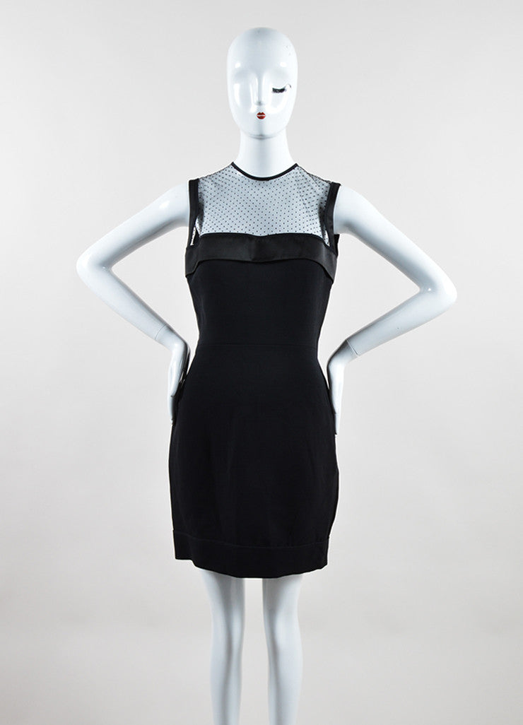 Victoria Beckham Black Crepe Sheer Yoke Fitted Sleeveless Cocktail Dress Frontview