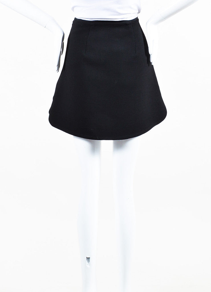 Black VICTORIA Victoria Beckham Wool Vinyl Flower Mini Skirt Back