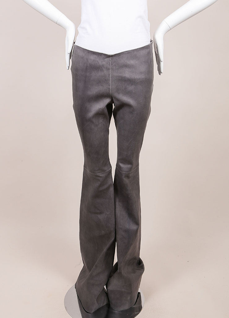 Wes Gordon New With Tags Grey Lambskin Flare Pants Frontview