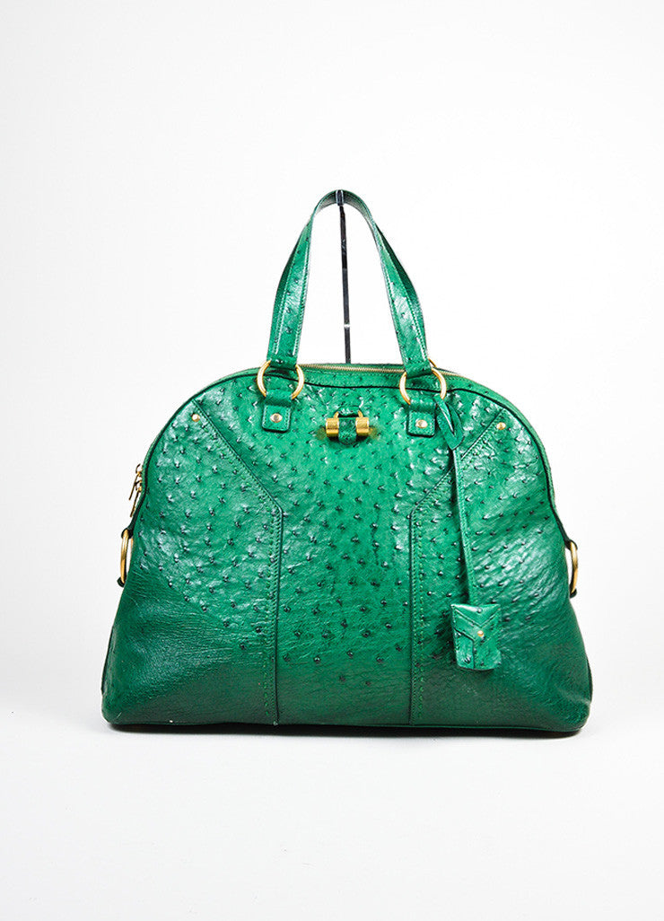 "Green and Gold Toned Yves Saint Laurent Ostrich Limited Edition ""Muse"" Bag Frontview"