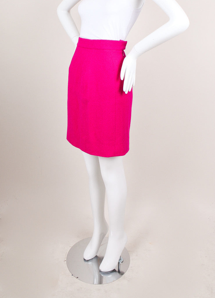 Fuschia Wool Pencil Skirt