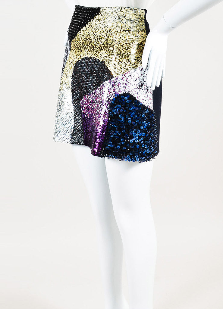 3.1 Phillip Lim Black and Multicolor Wool Sequin Beaded Mini Skirt Sideview