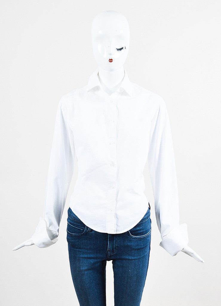 Alaia White Poplin Button Up Long Sleeve Shirt Frontview