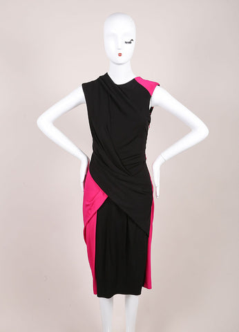 Alexander New With Tags Pink And Black Color Block Twist Sheath Dress Frontview