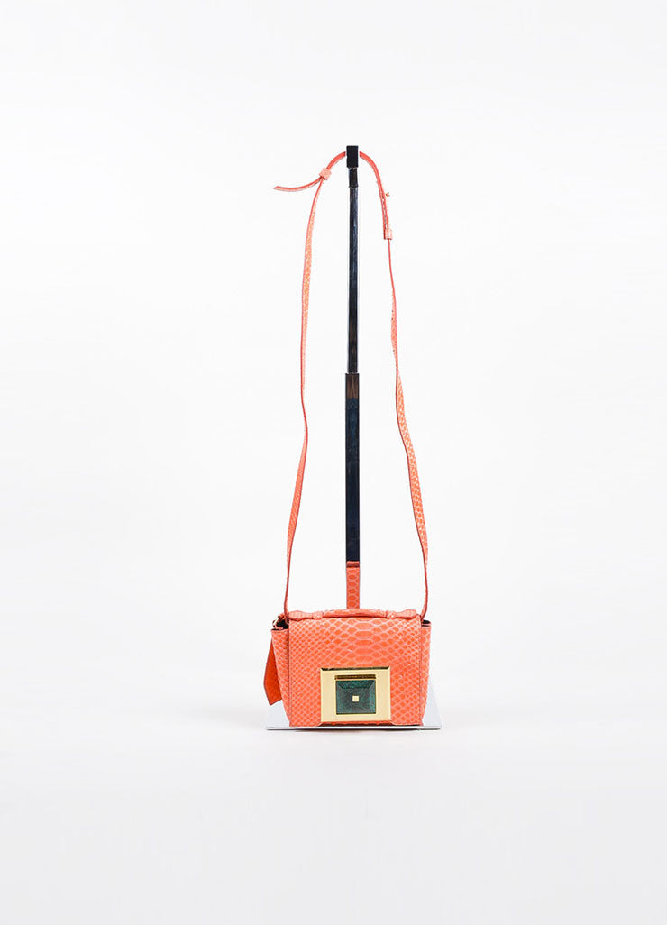Andrew Gn Coral Python Skin Turn Lock Mini Brief Crossbody Bag Frontview