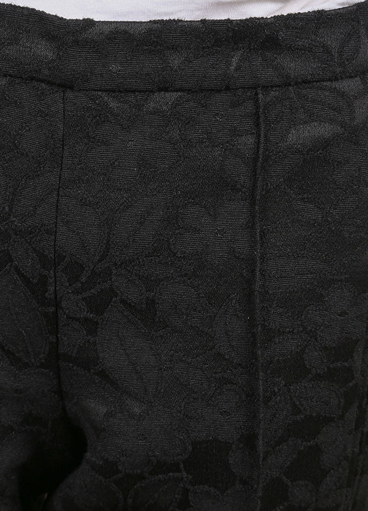 Andrew Gn New With Tags Black Floral Embroidered Wool Blend Ankle Trousers Detail