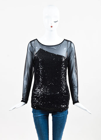 Anne Fontaine Black Mesh Long Sleeve Sequined Top Front