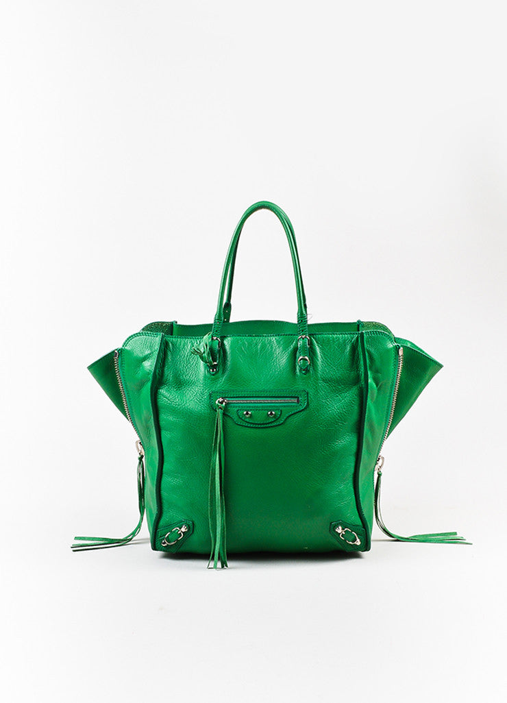"Balenciaga Green Leather Silver Hardware ""Papier A5 Zip Around"" Tote Bag Frontview"