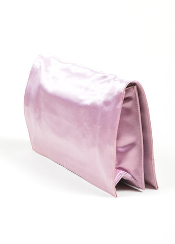 Pink Balenciaga Satin Moto Flap Clutch Bag Sideview