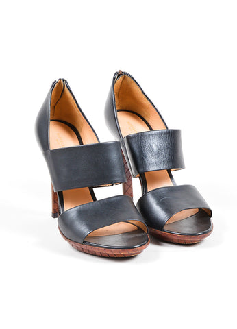 Bottega Veneta Black and Brown Leather Wide Double Strap Heeled Sandals Frontview