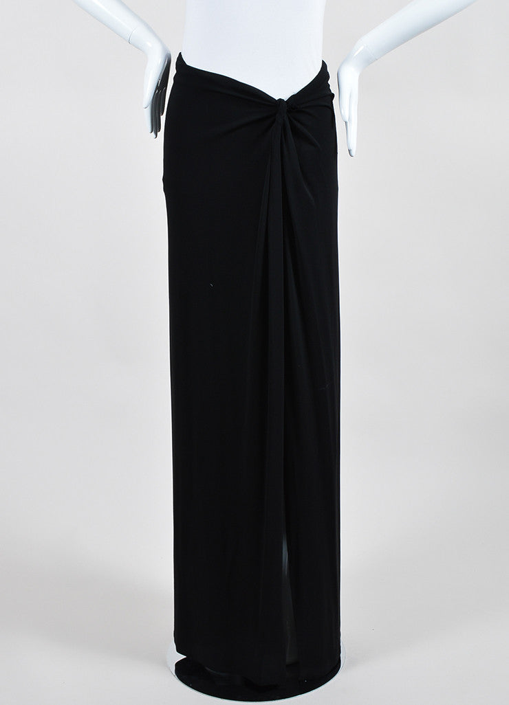 Black Celine Stretch Knotted Detail Hip High Side Split Maxi Skirt Frontview