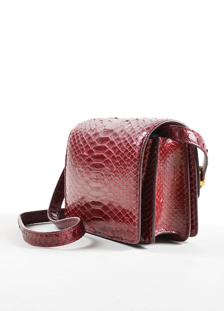 Celine Dark Red Snakeskin Leather Small Flap Box Bag Sideview