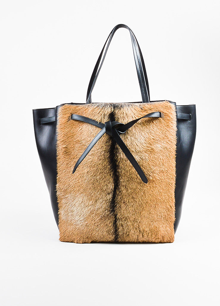"Black and Tan Celine Leather Fur ""Medium Phantom Cabas Belt"" Tote Bag Front"