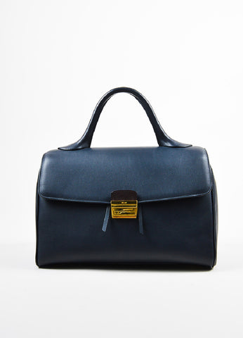 Celine Navy Leather Top Handle Doctor Handbag Frontview