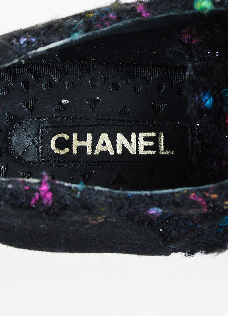 Chanel Black and Multicolor Tweed and Boucle Lace Up Platform Shoes Brand