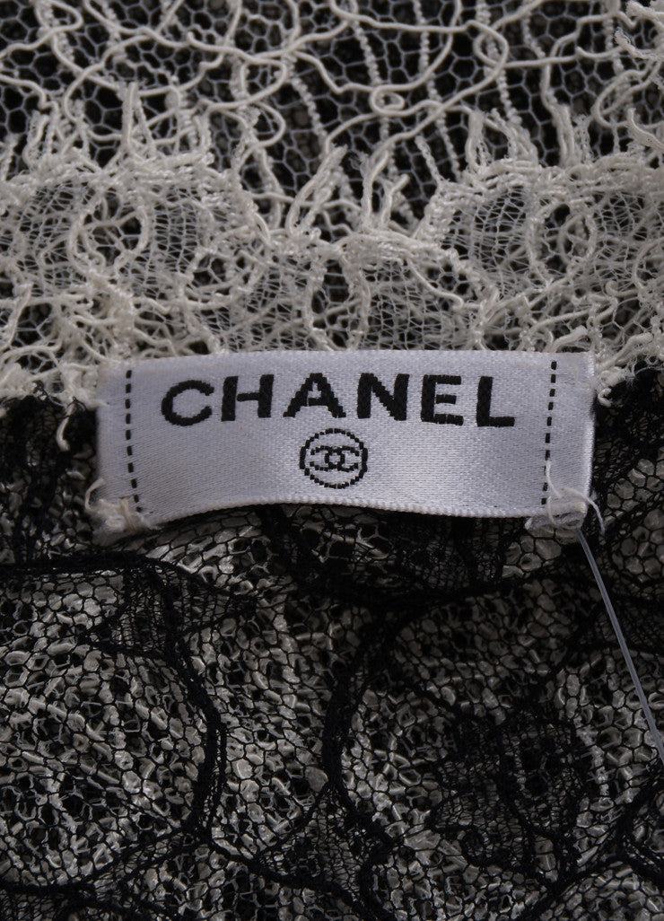 Chanel Black and Cream Semi-Sheer Lace Short Sleeve V-Neck Top Brand