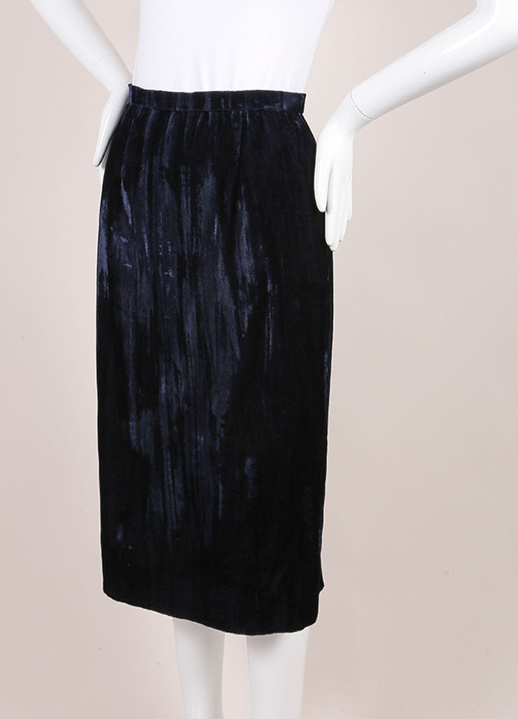 Chanel Midnight Blue Velvet Midi Pencil Skirt Sideview