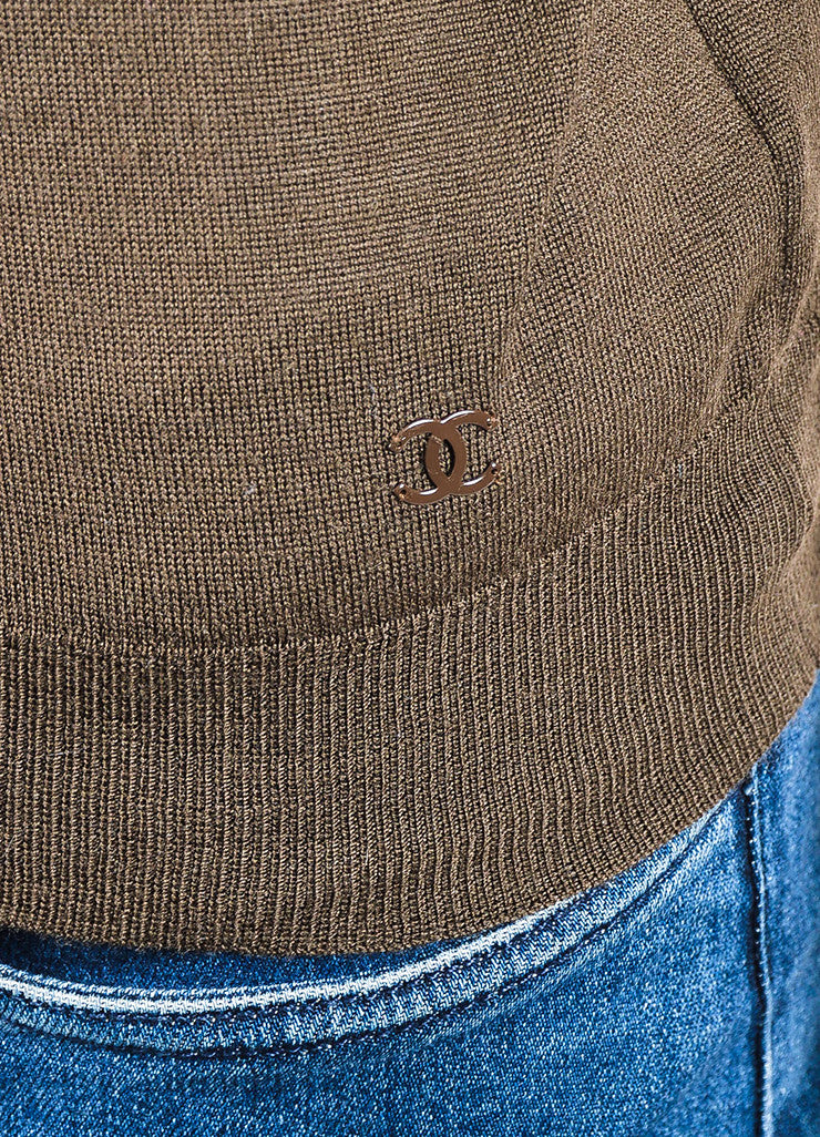 Chanel Brown Wool Knit Crew Neck Short Sleeve Top Detail