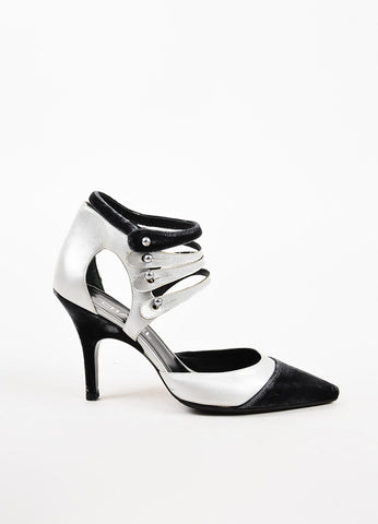 Chanel Metallic Leather and Black Velvet Pointed Toe Multi Strap Pumps Sideview