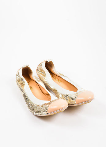 Chanel Nude Metallic Gold Leather Cap Toe Sequin Ballet Flats Frontview