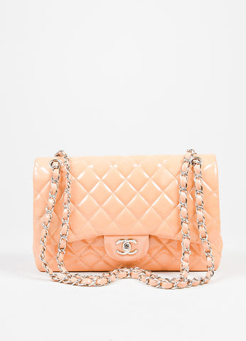 "Nude Chanel Patent Leather Quilted ""Classic Jumbo"" Double Flap Shoulder Bag Frontview"