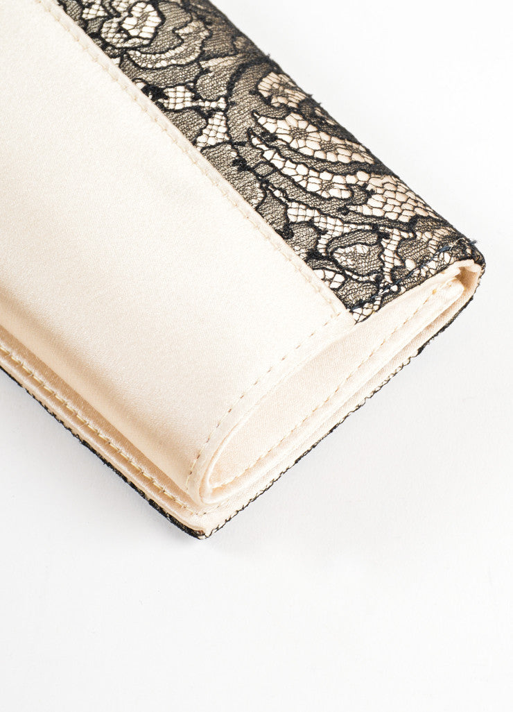 Christian Louboutin Champagne and Black Satin Floral Lace Evening Clutch Bag Detail