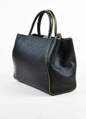 "Fendi Black and Green Leather Apple Charm ""Petite 2 Jours"" Tote Bag Sideview"