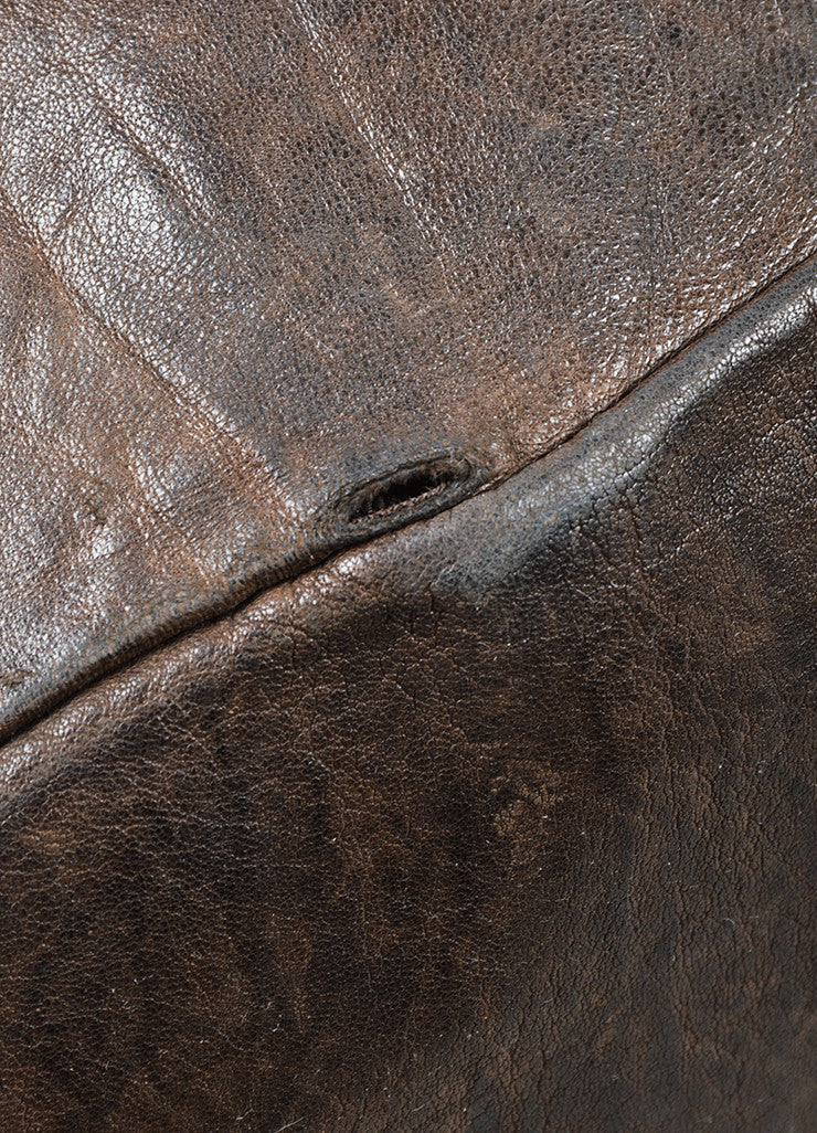 "Givenchy Dark Brown Wrinkled Leather ""Nightingale"" Tote Bag Detail 2"