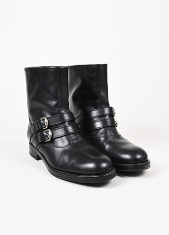 "Gucci Black Leather ""Margarett"" Shearling Lined Buckled Biker Boots Frontview"