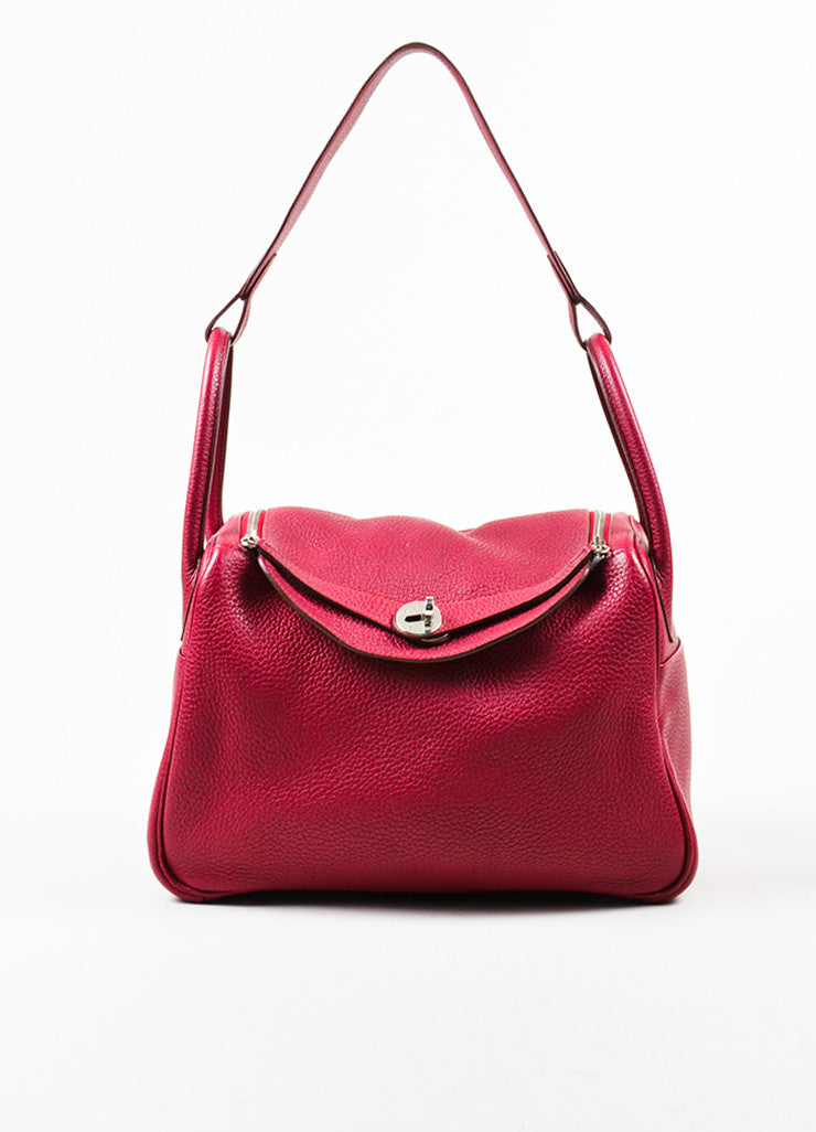 "Hermes Rouge Red Clemence Leather Zip Turn Lock ""Lindy 30"" Satchel Bag Frontview"