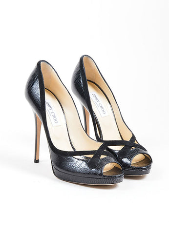 Black Jimmy Choo Lizard Embossed Suede Trim Peep Toe Heel Pumps Frontview