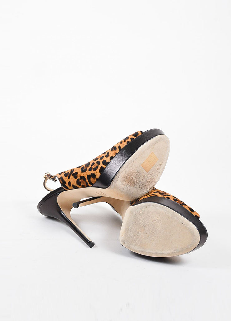 "Jimmy Choo Leopard Print Pony Hair Leather ""Shaw"" Slingback Pumps Outsoles"