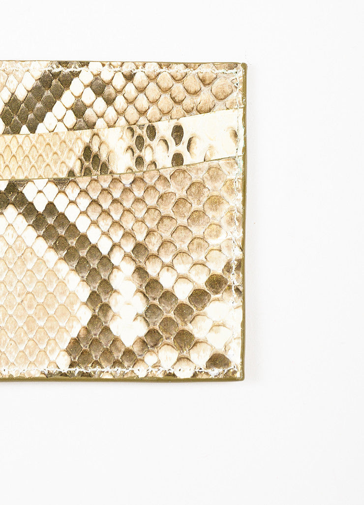Judith Leiber Metallic Gold and Cream Karung Snakeskin 5 Slot Card Holder Detail