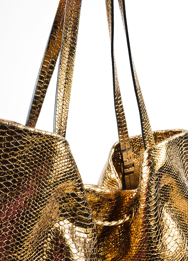 "Metallic Gold Lanvin Leather Python Embossed North South ""Carry Me"" Tote Bag Detail 2"