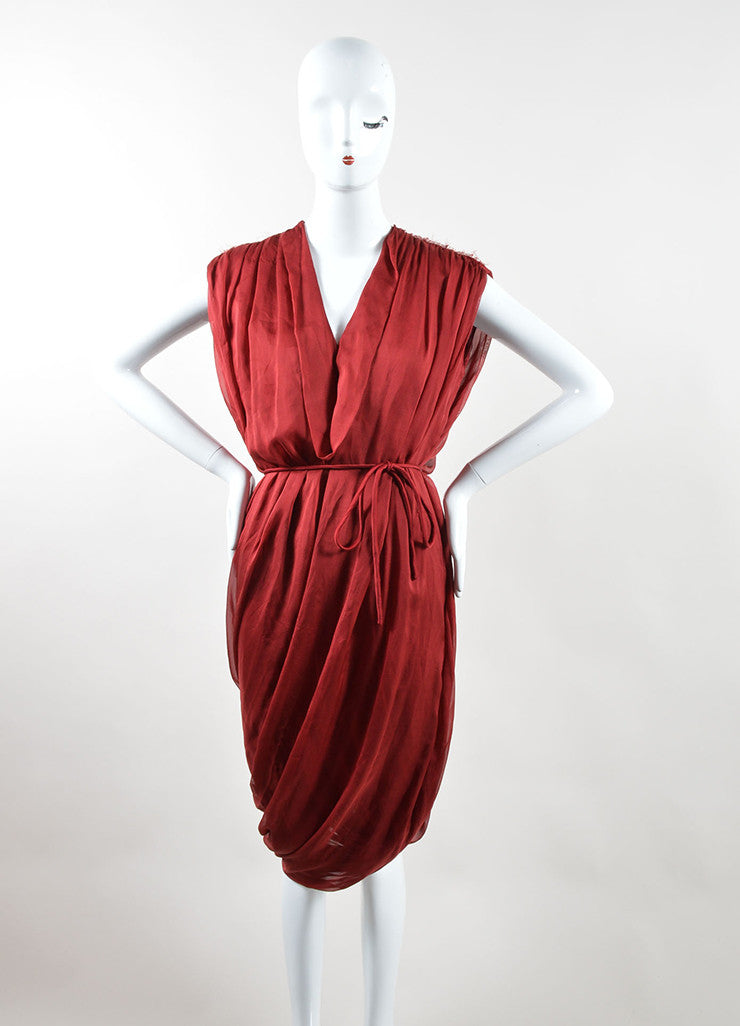Red Lanvin Silk Sleeveless Tie Belted Sack Dress Front 2