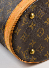 "Brown Louis Vuitton Coated Monogram Canvas Leather ""Petit Bucket"" Bag Detail 2"