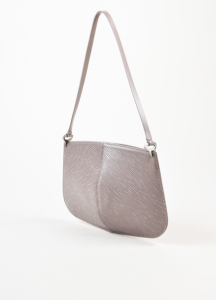 "Louis Vuitton Grey Lilac Epi Leather ""Demi Lune"" Pochette Bag"
