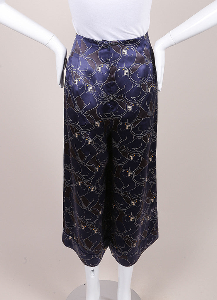 "Marc Jacobs New With Tags Navy and Black Silk ""Disco Panther"" Gaucho Culotte Pants Backview"