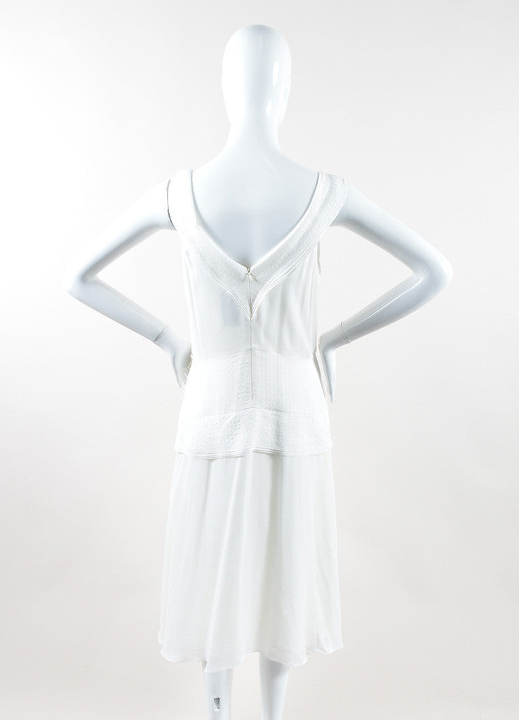 "Mulberry White Silk Ruffle Asymmetrical ""Blossom"" Flounce Dress Backview"