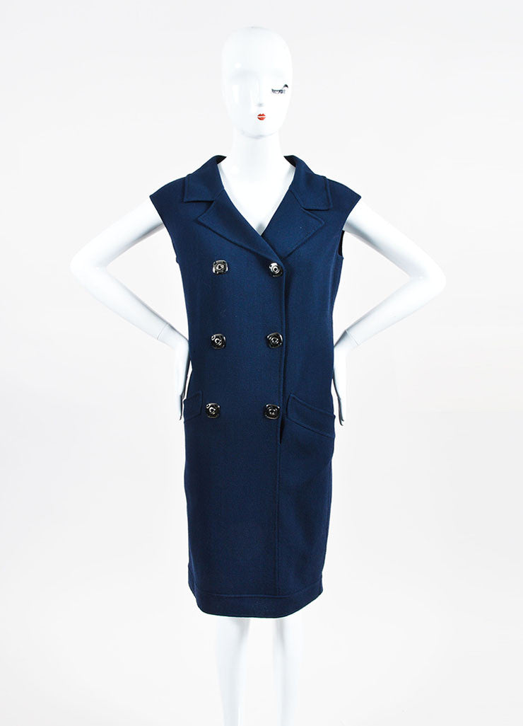 Navy Oscar de la Renta Wool Double Breasted Sleeveless Dress Frontview