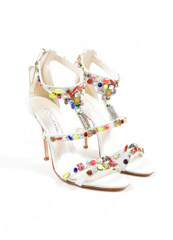 "Oscar de la Renta White and Multicolor Leather Jewel ""Simona"" Sandals Frontview"