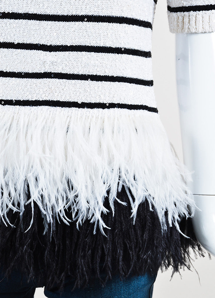 White and Black Oscar de la Renta Silk Knit Sequin Feather Striped Short Sleeve Top Detail