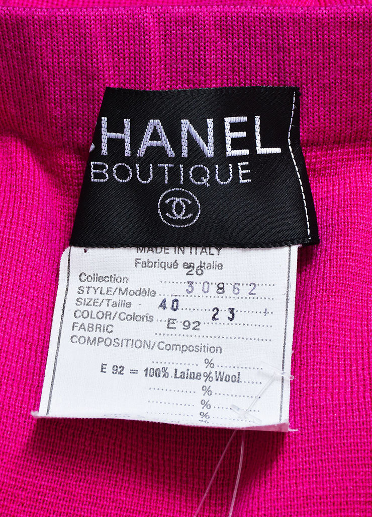 Magenta Pink Chanel Wool Knit Pleated Knee Length Skirt Brand