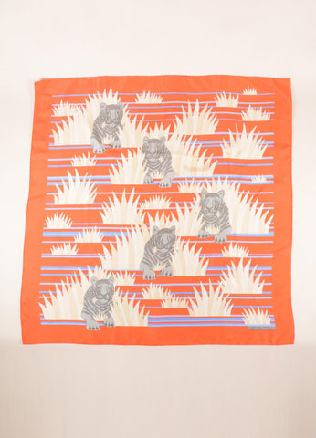 Hermes Orange and Blue Tiger Print Silk Scarf Frontview 2