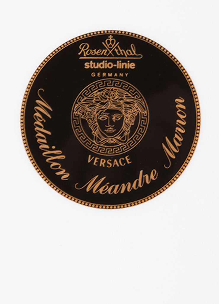 "Versace Rosenthal Brown and Gold Toned ""Medallion Meandre Marron"" 12 inch Service Plate Brand"