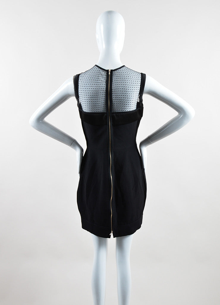 Victoria Beckham Black Crepe Sheer Yoke Fitted Sleeveless Cocktail Dress Backview