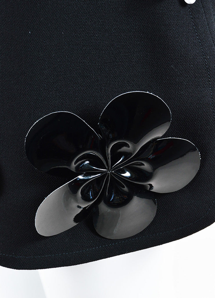 Black VICTORIA Victoria Beckham Wool Vinyl Flower Mini Skirt Detail