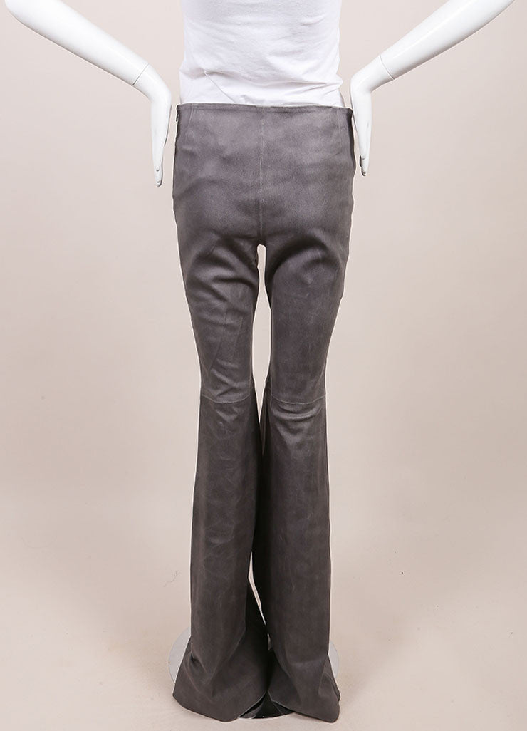 Wes Gordon New With Tags Grey Lambskin Flare Pants Backview